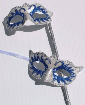 Blue and Pearlised White Masquerade Masks - Mask on a Stick | Masks and Tiaras